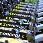 A row of Concept2 indoor rowing machines