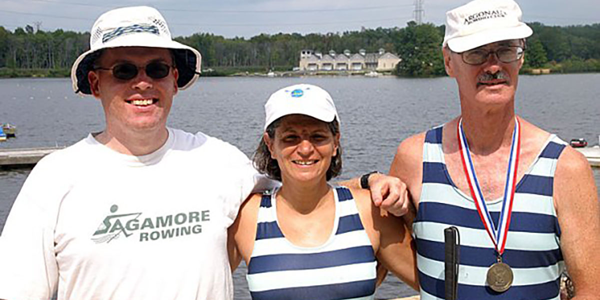 A photo of Linda and James Mumford and myself at the 2006 FISA Masters regatta at Mercer Lake in New Jersey.